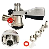 YaeBrew Ergonomic Handle with brass Body & Probe European Keg Beer Coupler Kegerator D System, Stainless Steel