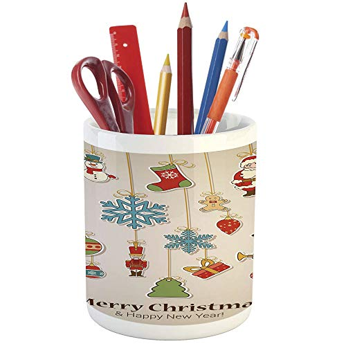 3301 Icon - Pencil Pen Holder,Christmas,Printed Ceramic Pencil Pen Holder for Desk Office Accessory,Xmas Winter Holiday Themed Icons Celebratory Objects Retro Graphic Collection Decorative