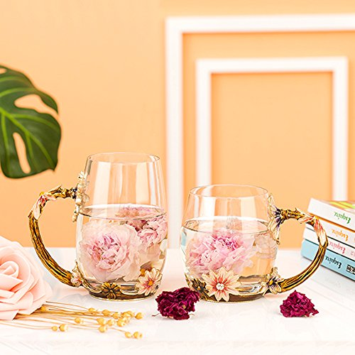 Glass Mug Set [2-Pack], TIANG 11oz Lead-Free Handmade Enamel Pink Flower Tea Cups with Handle, Unique Personalized Birthday Present Ideas for Women Mother Grandma Teachers Coffee by TIANG (Image #7)