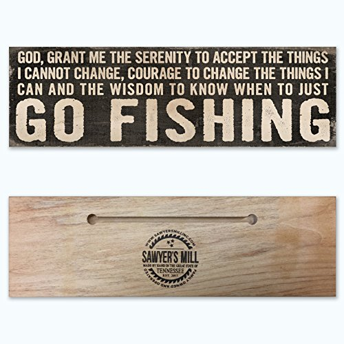 Serenity Prayer – God Grant Me the Serenity To Go Fishing. – Handmade Wood Block Sign for Home Wall Decor