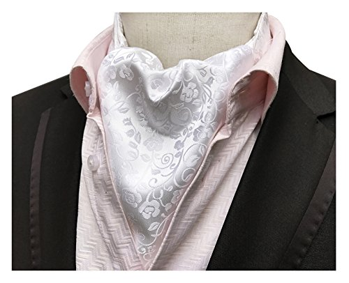 (Elfeves Men Shiny Silver White Tie Ascot Neckties Christmas Days Gift for Father)