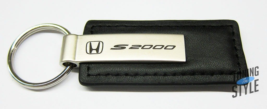 Honda S2000 Black Leather Key Chain Automotive Gold 4350397868