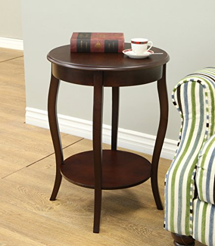 Frenchi home furnishing walnut round accent table 18 inch for 12 inch round side table