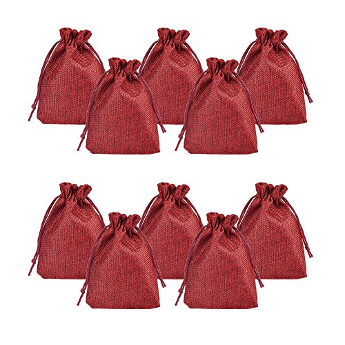 Pandahall 100pcs Burlap Packing Pouches Drawstring Bags 5x7 Gift Bag Jute Packing Storage Linen Jewelry Pouches Sacks for Wedding Party Shower Birthday Christmas Jewelry DIY Craft, DarkRed