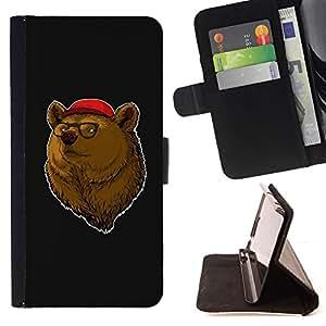 BullDog Case - FOR/Sony Xperia m55w Z3 Compact Mini / - / bear brown animal forest portrait glasses red hat /- Monedero de cuero de la PU Llevar cubierta de la caja con el ID Credit Card Slots Flip funda de cuer