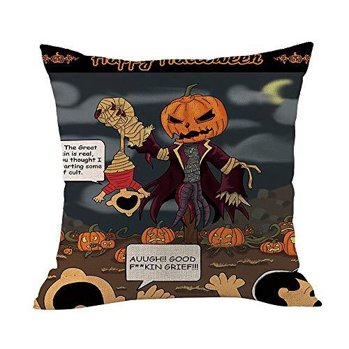 Gallity 45cmX45cm Square Pumpkin Pattern Halloween Cotton Linen Sofa Car Home Waist Cushion Cover Throw Pillow Case (F)]()