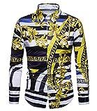 Versaces Men Shirt Leisure Palace Wind Digital Striped Print Long Sleeve Shirt, Black Yellow, M