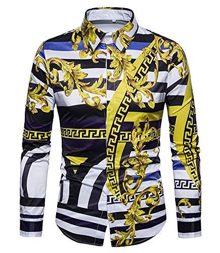 Versaces Men Shirt Leisure Palace Wind Digital Striped Print Long Sleeve Shirt, Black Yellow, M from Versaces