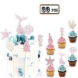 Bozoa (Set of 30) Mermaid Cupcake Topper Picks Mermaid Cake Decorations Supplies for Baby Shower Birthday Party Favors,Glitter Mermaid,Seashell,Seahorse,Starfish,Seaweed