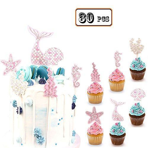 Bozoa (Set of 30) Mermaid Cupcake Topper Picks Mermaid Cake Decorations Supplies for Baby Shower Birthday Party Favors,Glitter Mermaid,Seashell,Seahorse,Starfish,Seaweed by Bozoa
