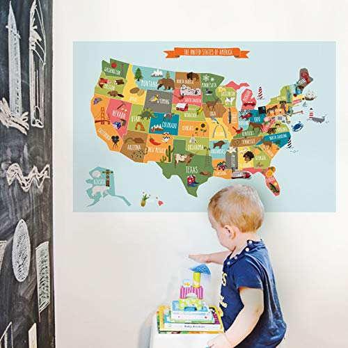 - Simple Shapes Kids USA Map Poster Wall Sticker Illustrated Children's USA Map (Small - 35
