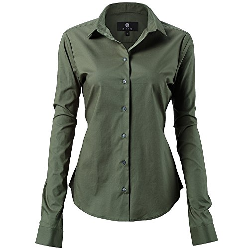 men Slim Fit Stretchy Cotton Army Green Button Down Shirts Size 8 ()