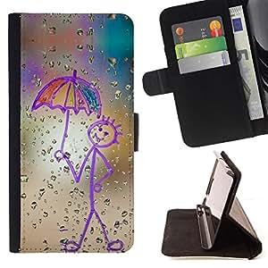 - Happy Rain Window Painting/ Personalizada del estilo del dise???¡¯???¡Ào de la PU Caso de encargo del cuero del tir???¡¯????n del s - Cao - For Samsung
