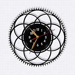 Steampunk Wall Clock, Vinyl Record Clock 12 inch (30cm) / Laser cut of Vintage Vinyl Record (Black clockface, Arabic digits)