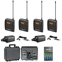 Sennheiser EW 100 ENG G3-A Dual (516-558 MHz) omni-directional clip-on Microphone Kit System + SKB Waterproof Dual Hard Case & 4 AA NiMH Rechargeable Batteries with Charger