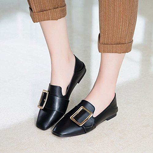 Buckle Square Loafers Toe Carolbar Flats Neutral Black Shoes Womens Casual wHBx5tq