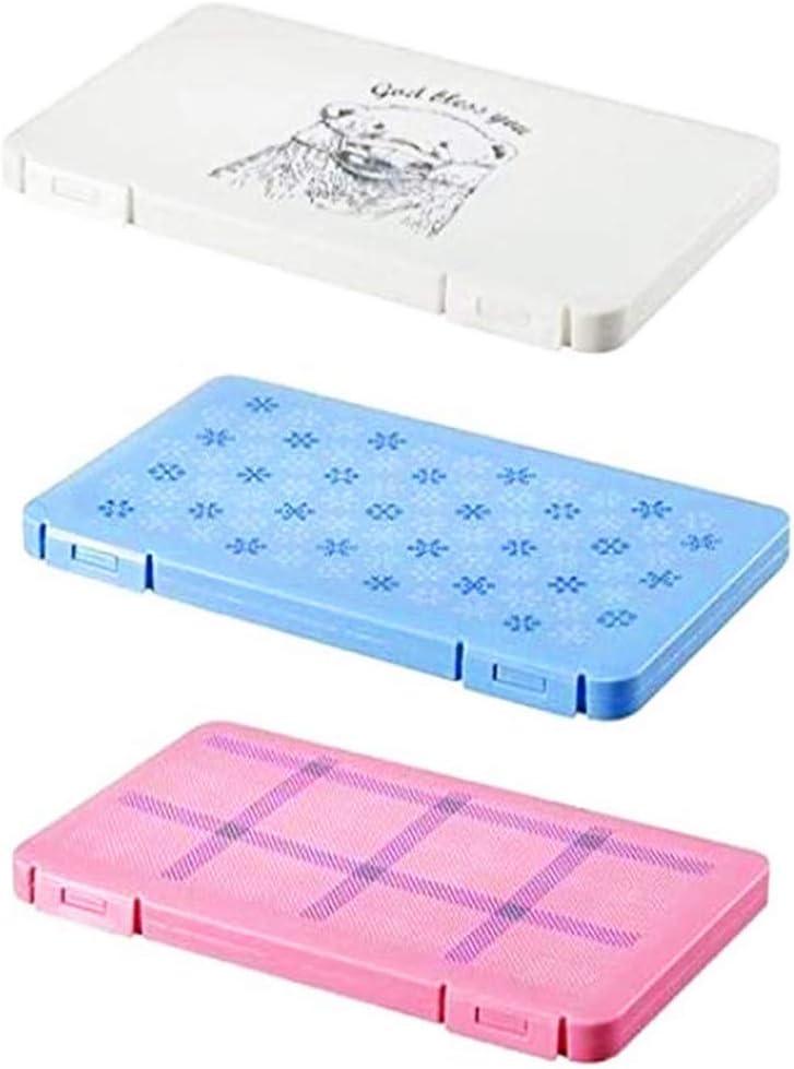 Estuche de almacenamiento para máscaras, portátil, desechable, bolsa de almacenamiento plegable a prueba de polvo, organizador de almacenamiento para la boca 3 piezas (azul+rosa+blanco) 19*12*1.5CM