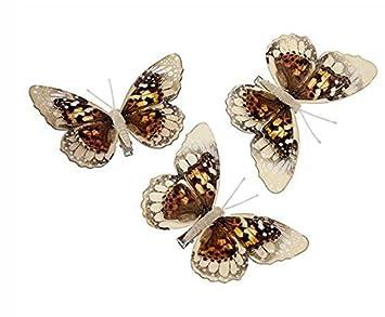 9 Stk Holz Schmetterlinge Pfauenauge 11cm Natur Creme Landhaus