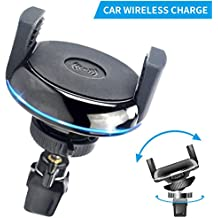 Qi Car Wireless Charger Mounts, CC-Show Portable Cordless Car Wireless Cell Phone Charging Pad Stand for iPhone X / 8 /8 Plus, Samsung Galaxy S8, S8+/S8 Plus, All Qi-Enabled Devices - Black