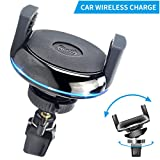 CC-Show Qi Car Wireless Charger Mounts, Portable Cordless Car Wireless Cell Phone Charging Pad Stand for iPhone X/8/8 Plus, Samsung Galaxy S9, S8+/S8 Plus, All Qi-Enabled Devices - Black