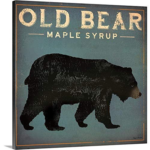 Old Bear Canvas Wall Art Print, 16 x16 x1.25