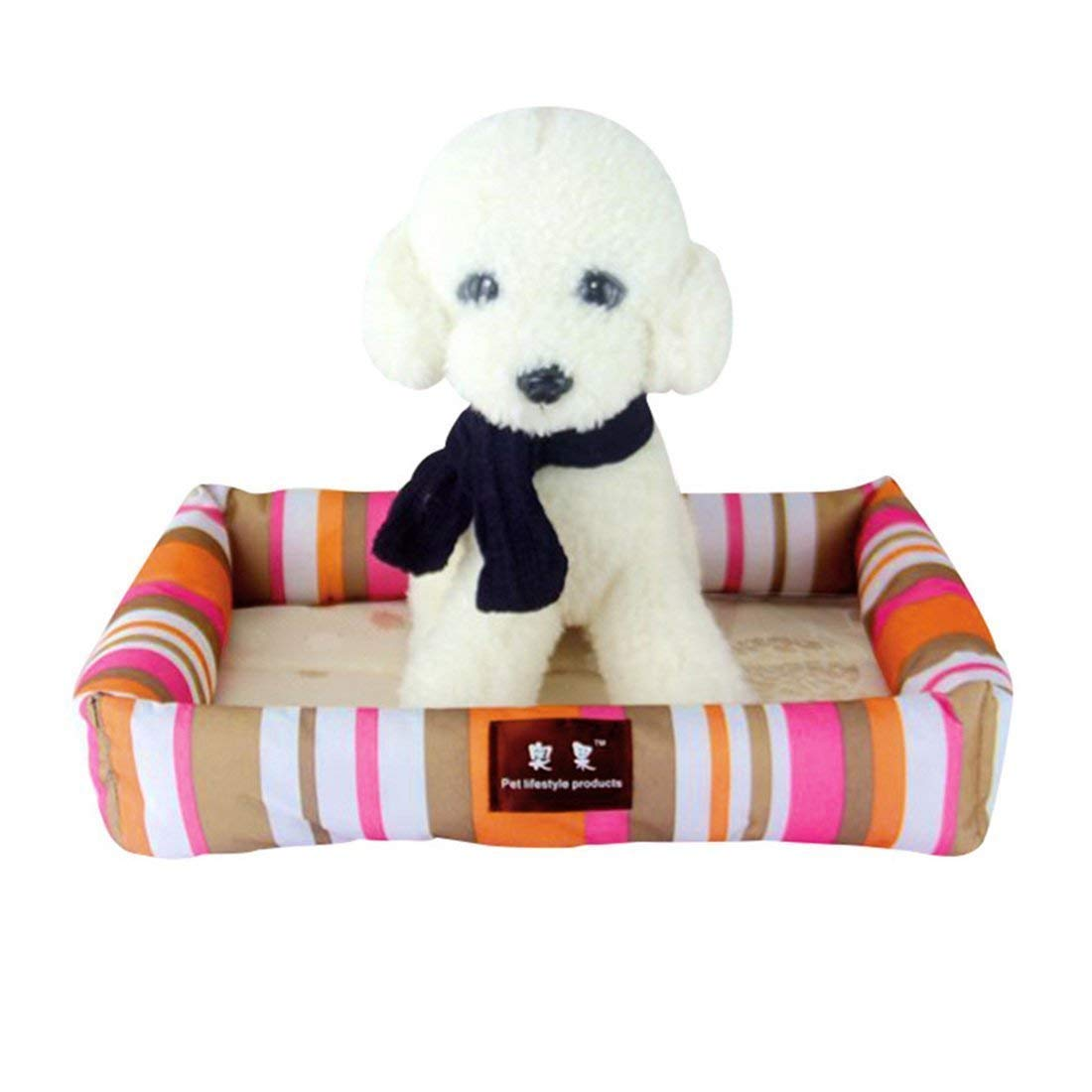 IANXI Home Summer Dog Bed Pet Cooling Sleeping Mat Cat Bed Cushion pink and orange L for Cat Dog
