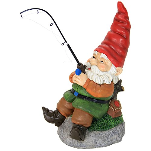 Exhart Good Time Fishing Frank Garden Gnome for Fisherman and Outdoor Enthusiasts - Garden Gnome with a Fishing Rod Decor, Gnome Figurines, Gnomes Garden Decorations for Fisherman 8