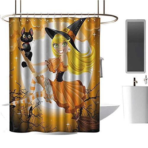 TimBeve Camper Shower Curtain Halloween,Cute Sexy Witch on a Broom with Baby Kitten and Hazy Moonlight Halloween Themed,Multicolor,Hand Drawing Effect Fabric Shower Curtains Odorless 70