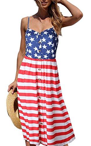 Summer Printed Sleeveless Midi Dress