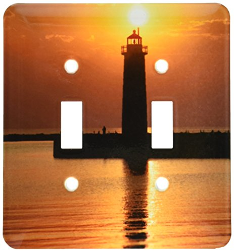 (3dRose lsp_91212_2 Mi, Muskegon Lighthouse On Lake Michigan Us23 Rer0002 Ric Ergenbright Double Toggle Switch)