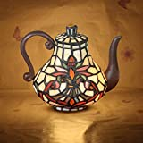 Tiffany Table Lamp Maternity Night Light Stained Glass Teapot Retro Bedside Lamp W16 H19CM