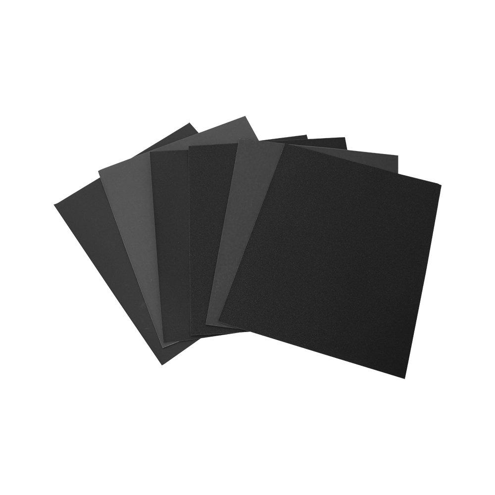 grano fino Juego de papel de lija resistente al agua P2500 Woltersberger 230 x 280 mm papel de lija h/úmedo P5000 P1000 P800 P1500 12 hojas P1200