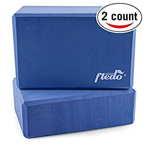 """Fledo Yoga Blocks (Set of 2) 9""""x6""""x4"""" Eco friendly EVA Foam Brick, Featherweight and Comfy Provides Stability and Balance Ideal for Exercise, Pilates, Workout, Fitness & Gym"""