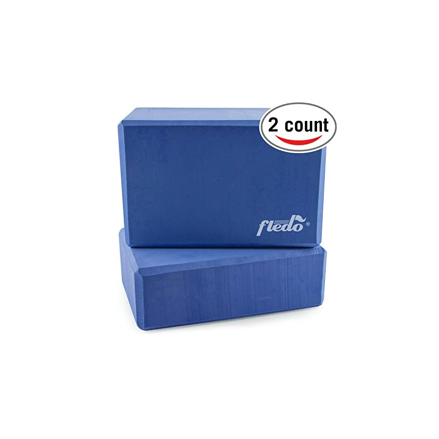 "Fledo Yoga Blocks (Set of 2) 9""x6""x4"" Eco friendly EVA Foam Brick, Featherweight and Comfy Provides Stability and Balance Ideal for Exercise, Pilates, Workout, Fitness & Gym"