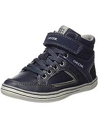 Geox Garcia B Boys Waxed Leather Hi Top Sneakers / Shoes - Brown