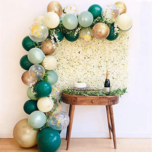 Sweet Baby Co. Sage Green Balloon Garland Arch Kit with Eucalyptus Olive, Jungle Green, Ivory White, Gold Balloons and Greenery for Forest Safari Earth Tropical Theme Decorations Baby Bridal Shower Birthday Party