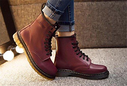 Mode fuer Frauen / Mens Martin Stiefel Leder 8 oese Laced Flache Schuhe Stiefel Schuhe Burgund Baumwolle