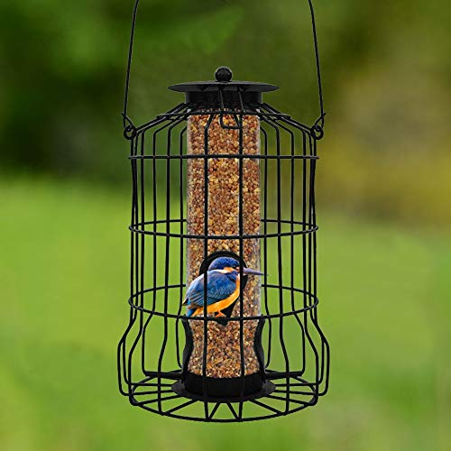 (FORUP Caged Tube Feeder, Squirrel Proof Wild Bird Feeder, Outdoor Birdfeeder with Large Metal Seed Guard Deterrent for Large Birds)