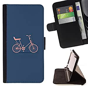 For Apple Iphone 6 Minimalist Blue Hipster Artsy Style PU Leather Case Wallet Flip Stand Flap Closure Cover