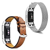 COUPOON For Fitbit Charge 2 Replacement Bands (2 Pack),Stainless Steel Magnetic Milanese Metal with Leather Bracelet Strap for Fitbit Charge 2 Women Men