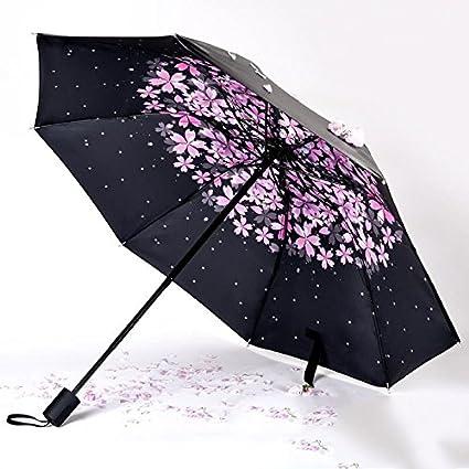 Shenhai Sun paraguas protección solar paraguas UV diosa paraguas negro plegable hembra pequeña lluvia fresca de