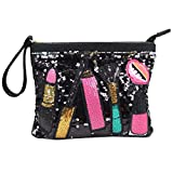 Orfila Patchwork Sequin Clutch Purse Envelope Wristlet Bag Fashion Shoulder Handbag Crossbody Bags for Women Black