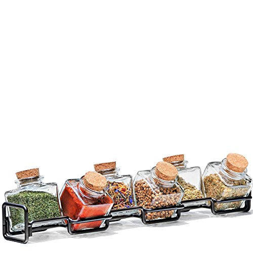 Couronne Company M224-6156G48 Horizontal Metal Spice Rack with Square Jars, 3 1/2'', Dark Amber, 1 Piece by Couronne Company (Image #2)