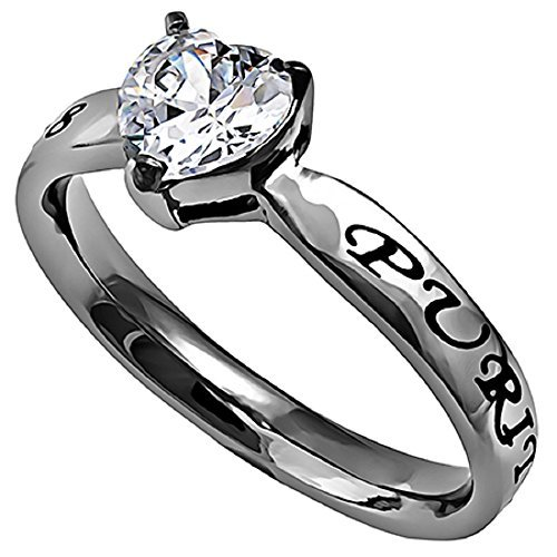 Spirit & Truth Purity CZ Heart Promise Ring Silver Stainless Steel with Verse Matthew 5:8 ()