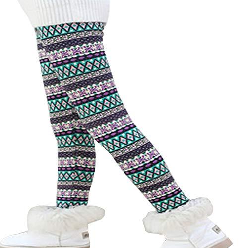Csbks Girls Fleece Lined Thick Leggings Colorful Autumn Winter Warm Pants Rhombus 4-5 Years ()