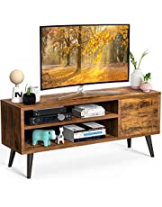 TV Console Table with Storage for TV up to 55 in, Retro TV Stand for Media Cable Box Gaming Consoles, Mid Century Modern TV Stand & Entertainment Center Wood TV Stand for Living Room Bedroom