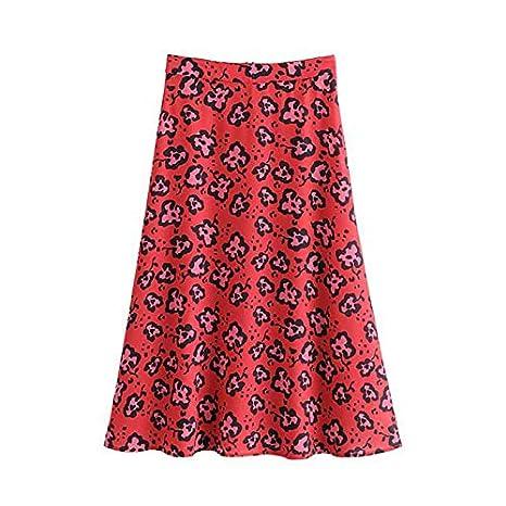 QYYDBSQ Mujer Estampado Floral Falda roja Volver Cremallera ...