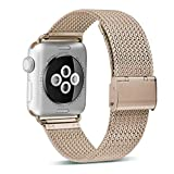OROBAY Compatible with Apple Watch Band 42mm 44mm, Stainless Steel Milanese Loop Band Compatible with Apple Watch Series 4 Series 3 Series 2 Series 1, Retro Gold