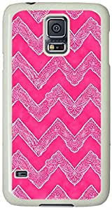 Trendy White Tribal Floral Paisley Chevron on Pink Samsung Galaxy S5 Case with White Skin