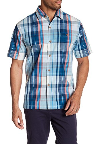 Tommy Bahama Island Zone Madras Magic Silk Blend Camp Shirt (Color Bering Blue, Size XXL)